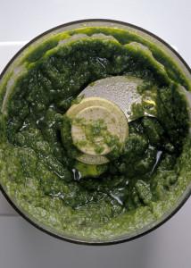 Pesto pureed in food processor