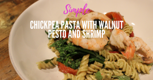 Chickpea pasta with walnut pesto and shrimp (1)